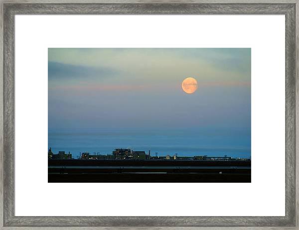 Moon Over Flow Station 1 Framed Print