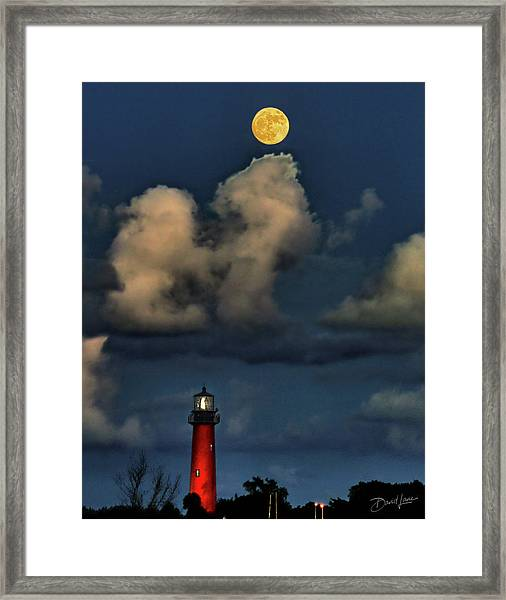 Framed Print featuring the photograph Moon Over Lighthouse by David A Lane
