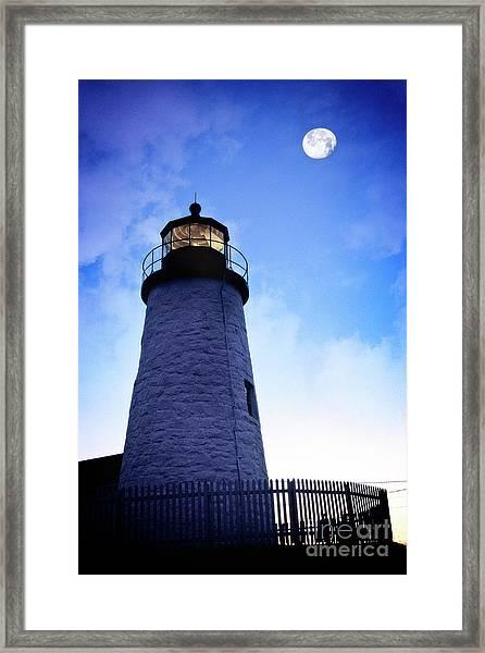 Moon Over Lighthouse Framed Print