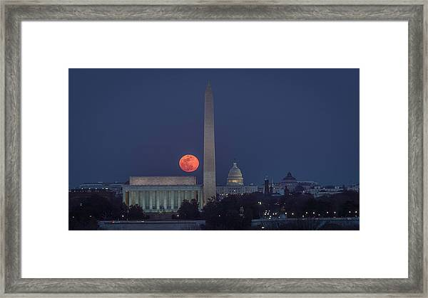 Moon Over Monuments Framed Print by Michael Donahue