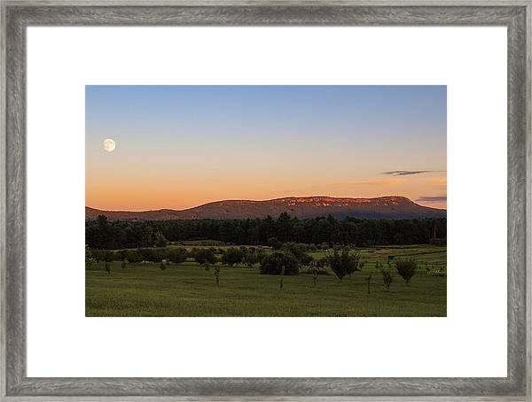 Moon Over Mount Tom Framed Print