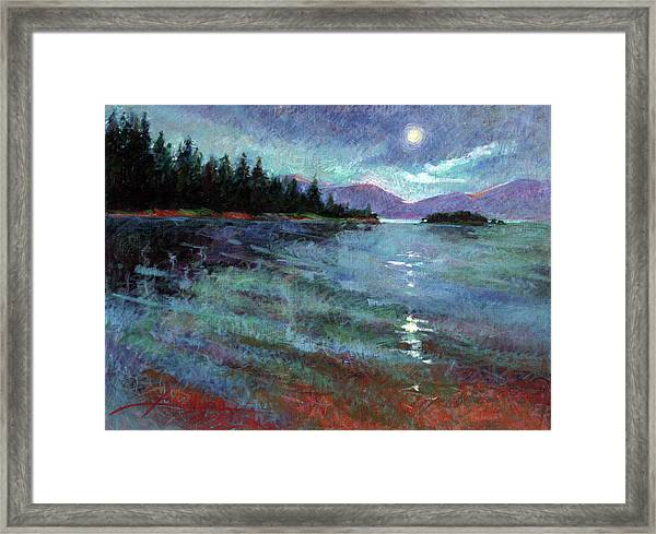 Moon Over Pend Orielle Framed Print
