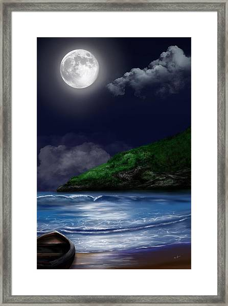 Moon Over The Cove Framed Print