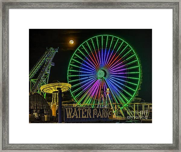 Moon Over The Ferris Wheel Framed Print