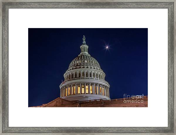 Moon Over The Washington Capitol Building Framed Print