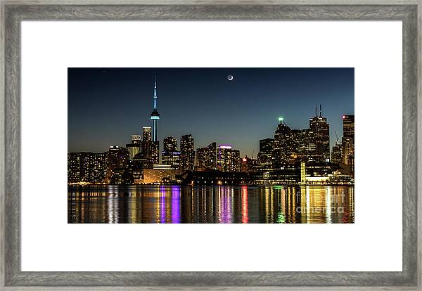 Moon Over Toronto Framed Print