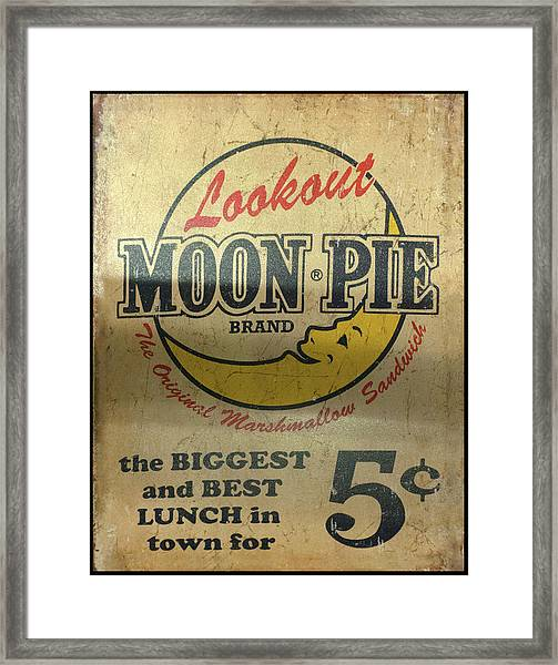 Moon Pie Antique Sign Framed Print