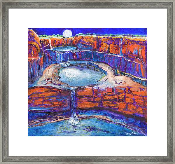 Moon Rising Over The Mitchell Falls Framed Print