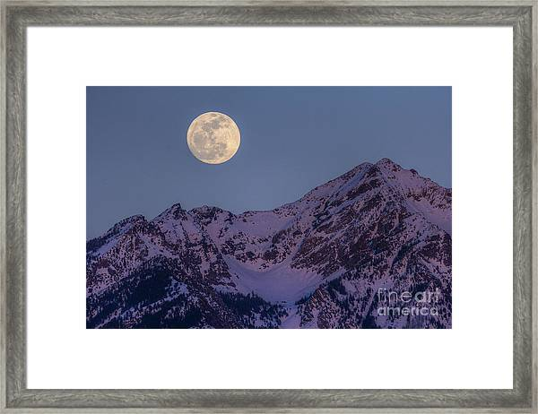 Moon Rising Over Twin Peaks Framed Print