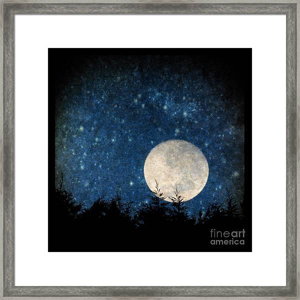 Moon, Tree And Stars Framed Print