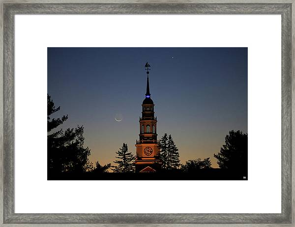 Moon, Venus, And Miller Tower Framed Print