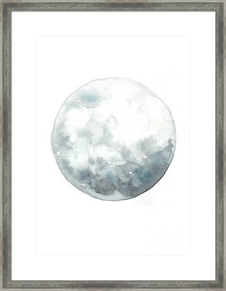 Moon Watercolor Art Print Painting Framed Print