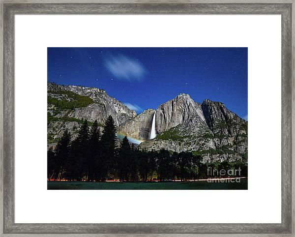 Moonbow And Louds  Framed Print