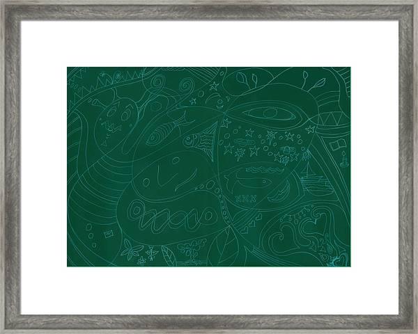 Moonfish Drawing Negative Green Chalk Framed Print