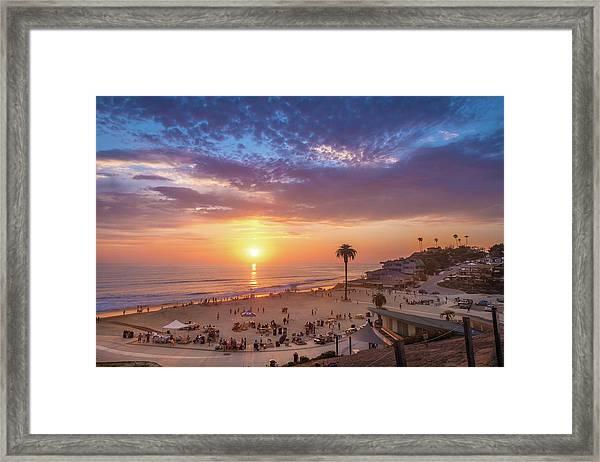Moonlight Beach Sunset Framed Print