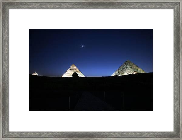 Moonlight Over 3 Pyramids Framed Print
