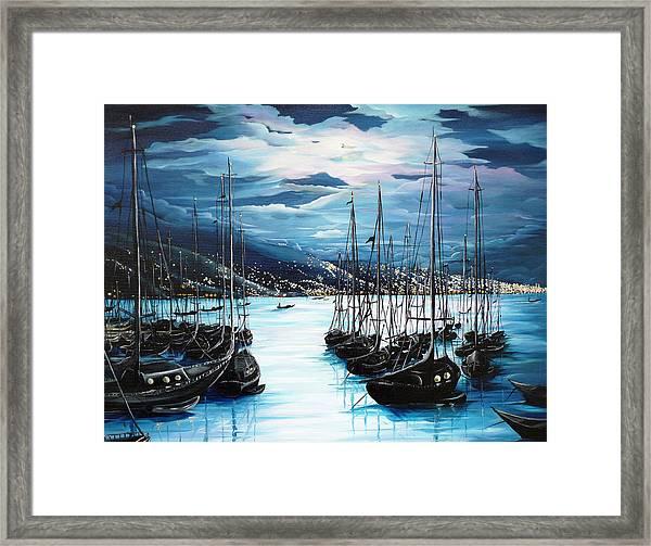 Moonlight Over Port Of Spain Framed Print