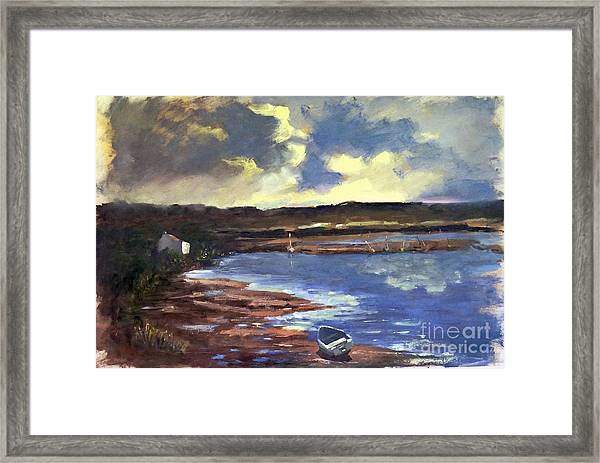 Framed Print featuring the painting Moonlit Beach by Genevieve Brown