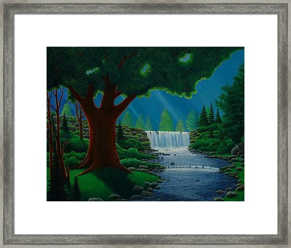 Moonlit Falls Framed Print by Mark Regni