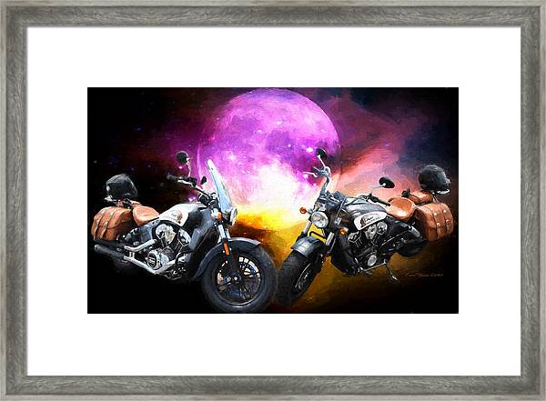 Framed Print featuring the photograph Moonlit Indian Motorcycle by Ericamaxine Price