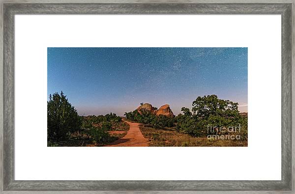 Moonlit Landscape At Enchanted Rock State Natural Area - Fredericksburg Texas Hill Country Framed Print