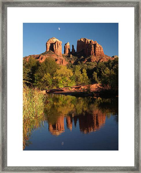 Moonrise Cathedral Rocks Framed Print