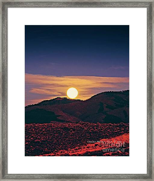 Moonrise In Northern New Mexico  Framed Print