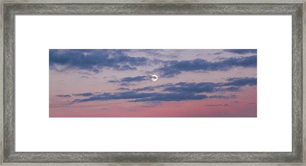 Framed Print featuring the photograph Moonrise In Pink Sky by D K Wall