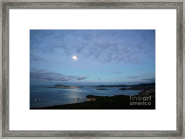 Moonrise Over Kaneohe Bay Framed Print