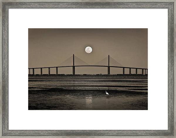 Moonrise Over Skyway Bridge Framed Print
