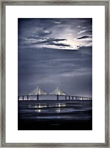 Moonrise Over Sunshine Skyway Bridge Framed Print