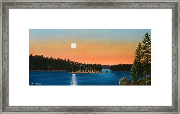 Moonrise Over The Lake Framed Print