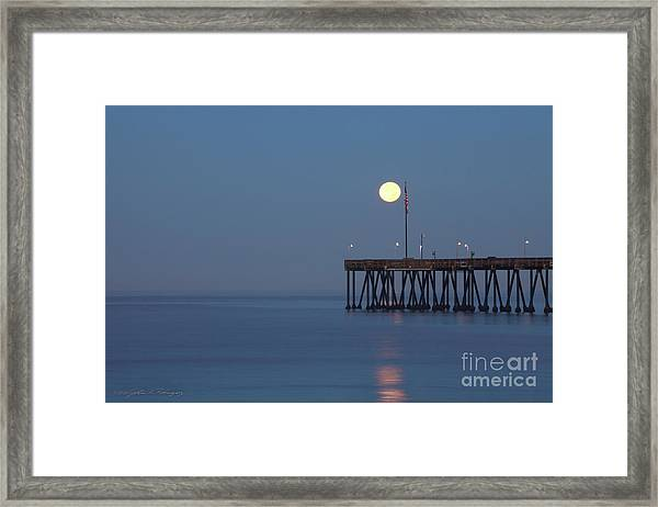 Moonset At The Ventura Pier Framed Print