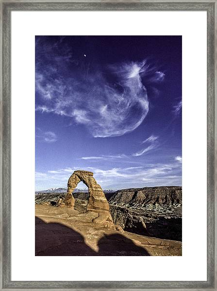 Moonset Delicate Arch Framed Print