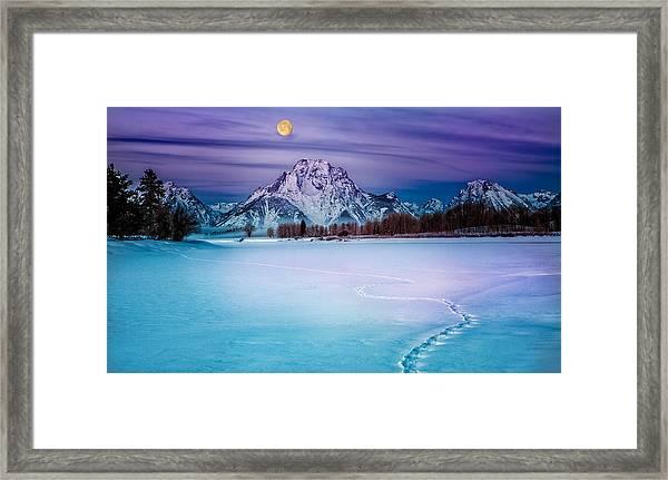 Moonset On Moran Framed Print