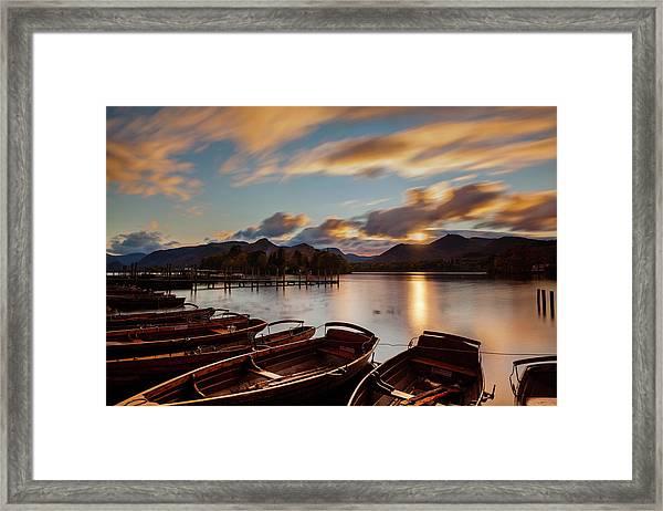 Moored Boats Derwent Water. Framed Print