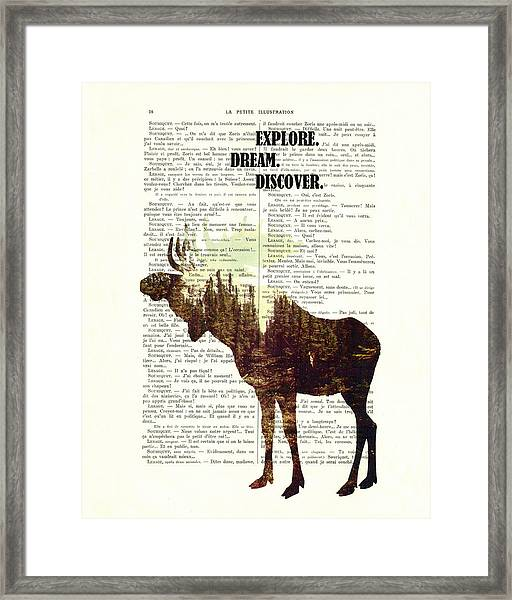 Moose - Explore Dream Discover - Inspiration Framed Print