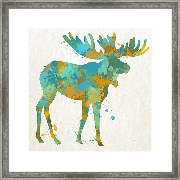 Moose Watercolor Art Framed Print