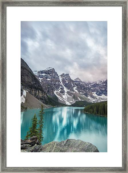 Moraine In The Summer Framed Print