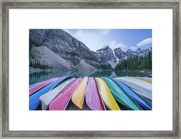 Moraine Lake Colors Framed Print
