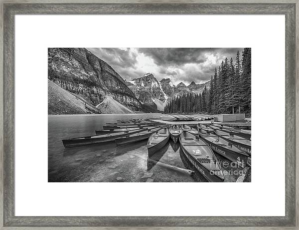 Moraine Lake In Black And White Framed Print