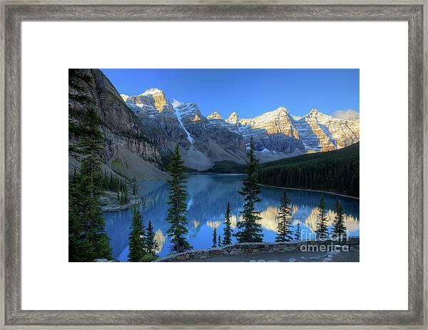 Moraine Lake Sunrise Blue Skies Framed Print