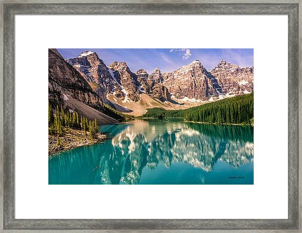 Framed Print featuring the photograph Moraine Lake Valley Of The Ten Peaks by Claudia Abbott