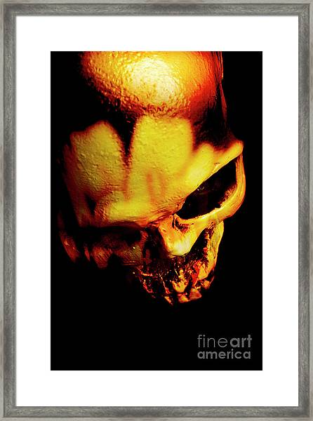 Morbid Decaying Skull Framed Print