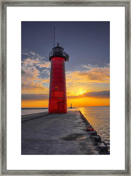 Morning At The Kenosha Lighthouse Framed Print