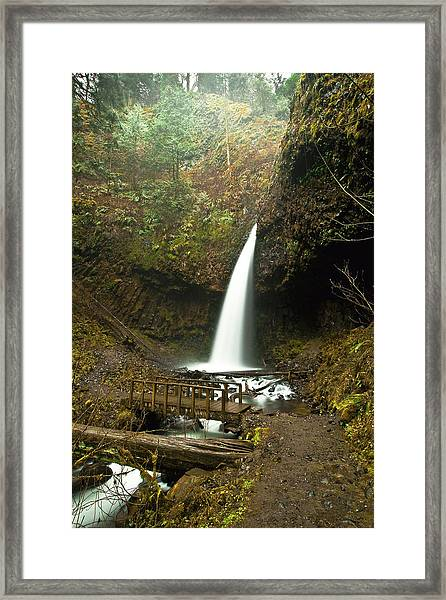 Morning At The Waterfall Framed Print