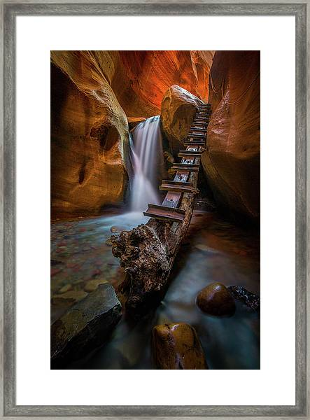 Morning Canyon Glow // Kanarra Falls, Utah Framed Print