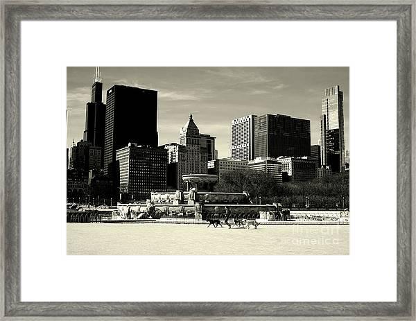 Morning Dog Walk - City Of Chicago Framed Print