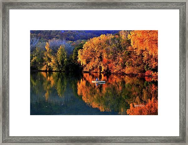 Morning Fishing On Lake Winona Framed Print
