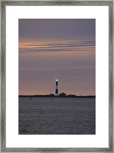 Morning Flash Of Fire Island Light Framed Print